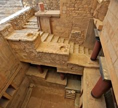 Stairs in the Palace of Knossos, the oldest palace in Europe, dating back to 1900 B.C. with perhaps the earliest settlement in 7000 B.C. Crete