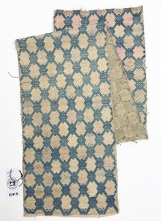 Wedding Blanket Textile, Zhuang cloth, Faded blue, natural, and pink, Vintage, Asian Hill Tribe Design, Hand Made