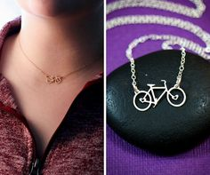 Bike Necklace - Bicycle Jewelry - Bike Charm Necklace - Cycling Gift - Biker Gift -Triathlon Gift -Gift Her -Gold Bicycle -Gold Bike  Bicycle pendant necklace in Sterling Silver or gold by IvyByDesign on Etsy. Any who loves to bike will love this sweet little pendant! The detail is amazing although the pendant is petite - there are even little heart cutouts in the middle of the spokes!  Model is wearing the gold 16 inch option.  ------------------------------------------- PROCESSING TIME ✤ 1…