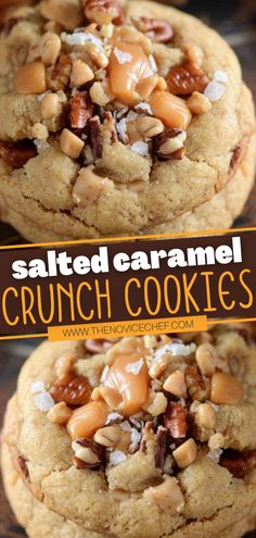 Salted Caramel Crunch Cookies are the BEST ever! With a chewy brown sugar cookie base, toffee bits, crunchy chopped pecans, sweet caramel bites, and flaked sea salt, this holiday dessert has it all. Perfect for sharing with your neighbors this Christmas! Save this pin! Cooking Cookies, Cookie Desserts, Holiday Desserts, Holiday Baking, Cookie Recipes, Dessert Recipes, Cookie Base Recipe, Salted Caramel Cookies, Pecan Cookies