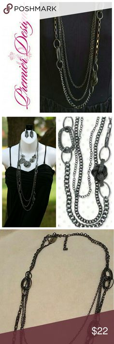 "Premier Designs Hematite ""Urbanite"" Necklace Like New - Worn Once! Hematite plated multi-strand necklace can be worn long or doubled for chic city look. Length 36"" w/ 3"" extender. Lobster claw clasp closure. Matching Fishhook earrings are also available in my closet. No Trades Premier Designs Jewelry Necklaces"
