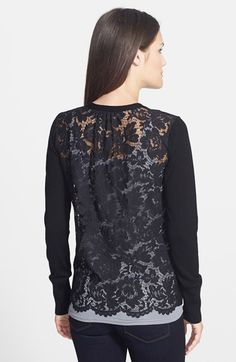 Free shipping and returns on Halogen® V-Neck Cardigan at Nordstrom.com. A fine-gauge cardigan crafted from a soft cotton blend gets a modern makeover with your choice of a sheer lace back or a square-studded front.