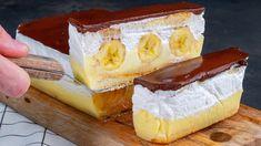 Úžasný nepečený krémeš s banánmi.vynikajúci recept sme našli na youtube.Potrebujeme:dlhé piškóty - 14 kusovcukor kr. - 100 gbanán - 3 kusypudingový prášok s vanilkovou príchuťou - 80 gmlieko - 600 mlsmotana na šľahanie - 250 … Eclairs, Camembert Cheese, Cake Recipes, Cheesecake, Good Food, Dairy, The Creator, Banana, Cooking