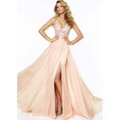 Halter Lace Chiffon Side Slit Beaded Blush Evening Gown Mori Lee 97018 Blush Evening Gown Fabric: Chiffon, Lace. Colors: Aqua, Blush, Mango. Halter v neckline. Features a lace patterened bodice along with lacey straps. Beaded lace top. Open back with a waist line belt.