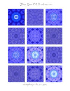 Digital Collage Sheet Instant Download 2-inch squares for jewelry, art, crafts #blue #kaleidoscope
