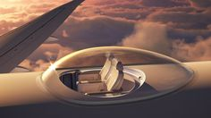 If the window seat doesn't cut it for you when flying, how about a roof seat? The SkyDeck, designed by aerospace engineering firm Windspeed Technologies, will give passengers views from a transparent bubble installed on the top of a plane. Airplane Seats, Airplane View, Air France, British Airways, Aviation Blog, Civil Aviation, Airplane Design, Sky View, Air Travel