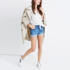 Trench, striped shirt, shorts, sneakers