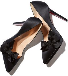 Christian Louboutin Bow T Satin Heel - ShopStyle Shoes Satin Shoes, Satin Pumps, Bow Shoes, Me Too Shoes, Platform High Heels, High Heel Boots, Black Platform, Black Pumps Heels, Black Shoes