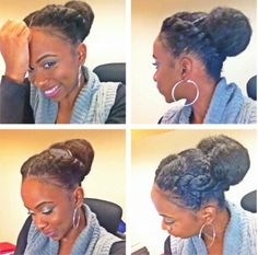 I like this except I want a combo of french braids, with the two chunky braids and instead of a bun, a full curly ponytail