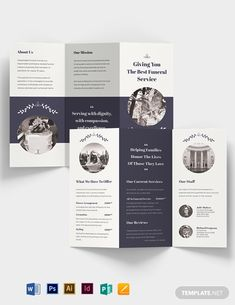 Having a hard time creating a funeral service brochure in just a few minutes? We will surely meet yo Graphic Design Brochure, Corporate Brochure Design, Brochure Design Inspiration, Brochure Layout, Business Brochure, Brochure Template, Tri Fold Brochure Design, Brochure Examples, Yearbook Pages