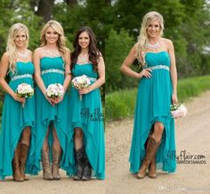 Country Bridesmaid Dresses 2016 Cheap Teal Turquoise Chiffon Sweetheart High Low Beaded With Belt Party Wedding Guest Dress Maid Honor Gowns