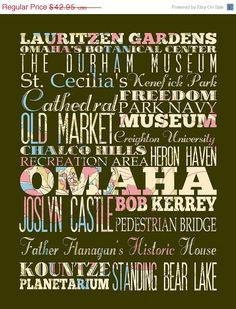 ON SALE Omaha Nebraska Typography Poster/Bus/ by LegacyHouseArt, $37.95