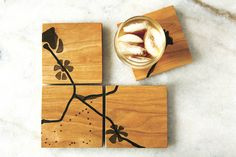 cherry puzzle coasters black by Noble Goods :: Cherry drink coasters with smoke-colored resin inlay. set of four :: :: Furniture New York Contemporary Furniture, Contemporary Design, Cherry Drink, Cnc Projects, Drink Coasters, Home Furnishings, Objects, Diy Crafts, Wood