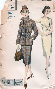 Vogue Special Design 4058; ©1959; One Piece Dress and Jacket. Slim skirt with released back pleat joins the bodice at waist-line. Buttoned back closing below the square neck-line. Welt pockets. Above elbow length and short sleeves. Novelty belt. Belted jacket with front and back shoulder yokes buttons below the notched collar. Welt pockets. Long sleeves with cuffs and elbow length. anne8865