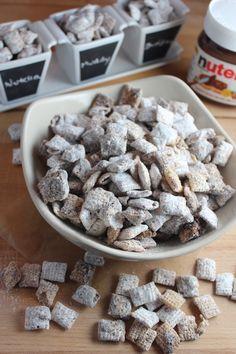 nutella muddy buddies, nutella puppy chow, nutella buddies, nutella chcolate chex, nutella dessert chex, recipes, food