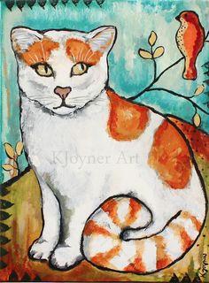 Orange and White Kitty Cat Painting Art by Kendra Joyner