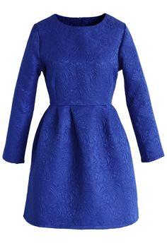 Sapphire Blue Floral Jacquard Dress - Retro, Indie and Unique Fashion