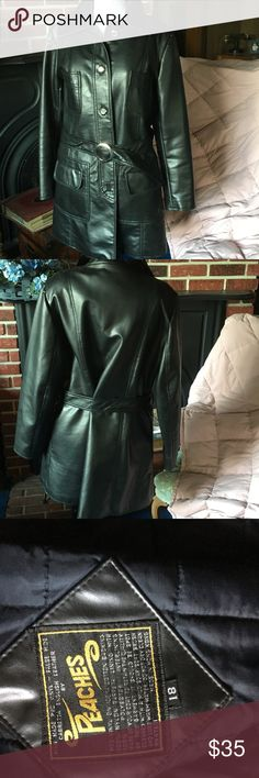 "Vintage Black Coat by Peaches, Size 18 Back in 1975 the new ""fabrics"" were being created using Science! This coat is a perfect example. The outer shell is PVC Vinyl. The lining is taffeta, with quilting that keeps you warm and cozy. There are many great features including functional pockets, the original belt and all buttons. Also included with the cost is the original sales receipt from the Gimbel-Bond store, downtown Vincennes, Indiana, considering the age, this coat is in excellent…"