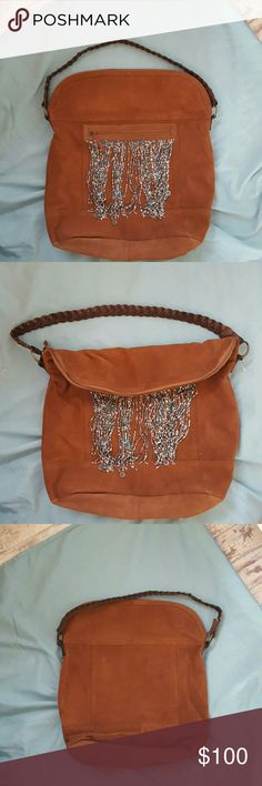 """Free people beaded flapover carryall bag nwot Beaded faux suede f Top flaps over Measures: 17"""" W  x 18"""" H Free People Bags"""