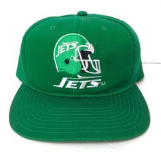 466915883de rare vtg 90s NEW YORK JETS SNAPBACK HAT Green Helmet Logo Men Women AJD  1990s