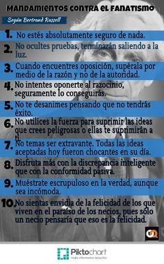 10 mandamientos contra el fanatismo (Bertrand Russell) #infografia
