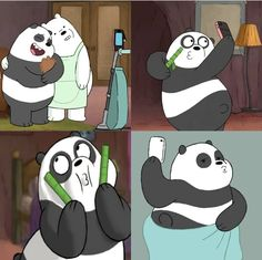Silly panpan looks sooo funnyy We Bare Bears Wallpapers, Panda Wallpapers, Cute Cartoon Wallpapers, Bear Wallpaper, Wallpaper Iphone Cute, Disney Wallpaper, Pardo Panda Y Polar, Bear Theme, We Bear