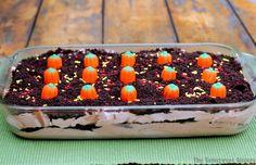Double Chocolate Oreo Halloween Dirt Cake Recipe - add gummy worms