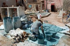 Leather tannery, Marrakech, Morocco