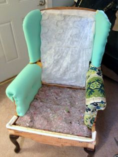 make bake and love: Re-Upholstering a Wing Back Chair, Part 2: Putting it Back Together