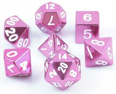 Tell your story with metal RPG dice. These metal dice are made with heavy, solid zinc and plated with shiny, polished nickel. The mirrored pink finish looks absolutely amazing. All numbers are oversiz