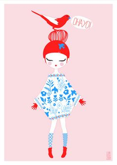 Artprint Birdy serie Dolls vintage by IzumiIdoiaZubia Art And Illustration, Brainstorm, Grafik Design, Bunt, Retro, Illustrators, Art Drawings, Graffiti, Character Design