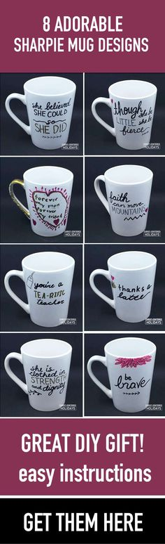 DIY sharpie mugs are a cheap and really fun personalized gift for teachers, as a thank you gift, or as an easy gift kids can make. Get sharpie mug ideas and step-by-step instructions here.