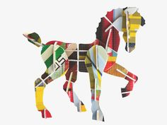 TOTEM A build-it-yourself 3D horse made from 32 interlocking cardboard pieces, pressed out from beautifully designed sheets. The super sturdy recycled cardboard panels are printed on both sides with creative prints. Endless building fun for anyone 6+ years.