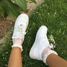 white sneakers, ruffle socks