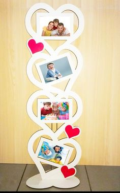 Quadruple Heart Frame - Four Heart Frame Size: Frame: 4 pieces - Diy Crafts For Gifts, Diy Arts And Crafts, Crafts For Kids, Cardboard Crafts, Wood Crafts, Paper Crafts, Frame Crafts, Diy Frame, Laser Cutter Projects