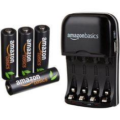 AmazonBasics AA High-Capacity Rechargeable Batteries (4-Pack) and Ni-MH AA & AAA Battery Charger With USB Port Set
