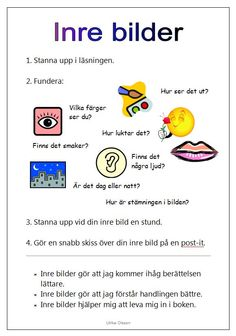 Informationskarta som berättar om inre bilder. Teaching Reading, Fun Learning, Learn Swedish, Hate School, Future Jobs, Bilingual Education, Writing Words, Teaching Materials, School Supplies