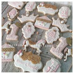 Cute Cookies, Cupcake Cookies, Sugar Cookies, Cupcakes, Baby Girl Cookies, Baby Shower Cookies, Carousel Birthday Parties, 1st Birthday Parties, Carousel Cake
