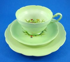 Old Royal Paragon Handpainted Florals on Green Tea Cup, Saucer and Plate Trio