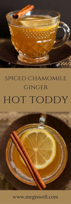 This Spiced Chamomile Ginger Hot Toddy has all the ingredients to make you feel better and satisfy your taste buds. | www.megiswell.com