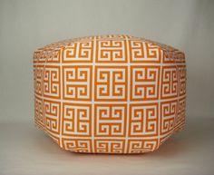 24 Floor Ottoman Pouf Pillow Sherbet Orange White  by Zeldabelle, $135.00