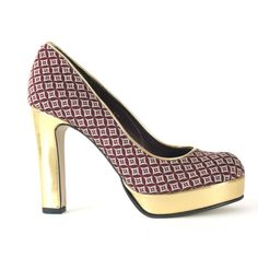 Candice - Burgundy Diamond Print - NEW AW'12 - Vegan Shoes, Vegetarian Shoes, Ethical and Stylish Footwear - Beyond Skin