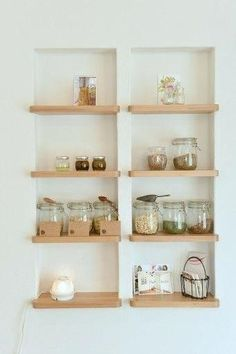 Future home ownership! Between Stud Shelves Recessed Shelving Between Wall Studs Is An Excellent Way To Store Everyday Items Install Recessed Hanging Shelves Metal Stud Walls Glass Wall Shelves, Kitchen Wall Shelves, Kitchen Storage, Bathroom Recessed Shelves, Hanging Shelves, Wood Shelves, Wall Niches, Bathroom Wall, Diy Kitchen