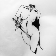 Let me be The queen of Your sword. Johnny Gloom line drawing for a tattoo