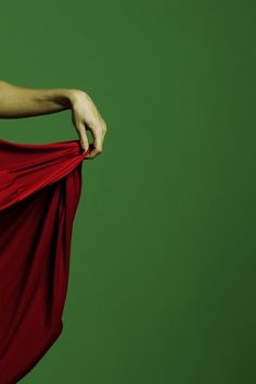 red / green - green background - red dress - hand - detail - grace - repin