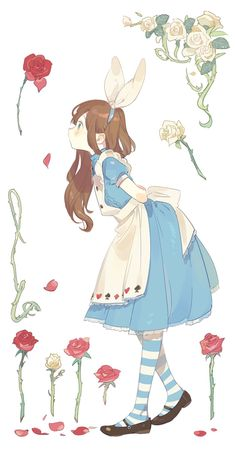 "Terrific One of the best design of the disney's "" alice in wonderland, anime, artwork, Concepts - Wonderful One of the best design of th. Art Kawaii, Kawaii Anime Girl, Anime Art Girl, Anime Chibi, Disney Drawings, Cute Drawings, Drawing Disney, Arte Sketchbook, Disney Kunst"
