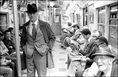 Saul Bellow on a New York subway train.
