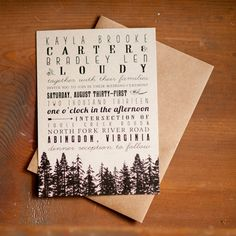 Rustic Wedding Invitations Vintage Kraft forest by inoroutmedia