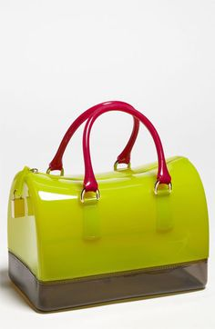 Furla 'Candy' Rubber Satchel.  Great summer bag.  Fun color but classic shape to keep it timeless.