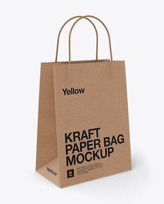 Kraft Bag W/ Twisted Paper Handles Mockup / Half Side View. Preview